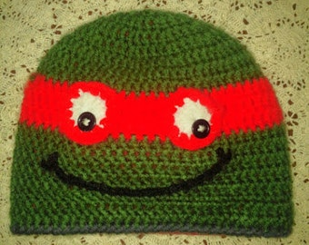 FLEECE Lined CROCHET Ninja Turtle Hat
