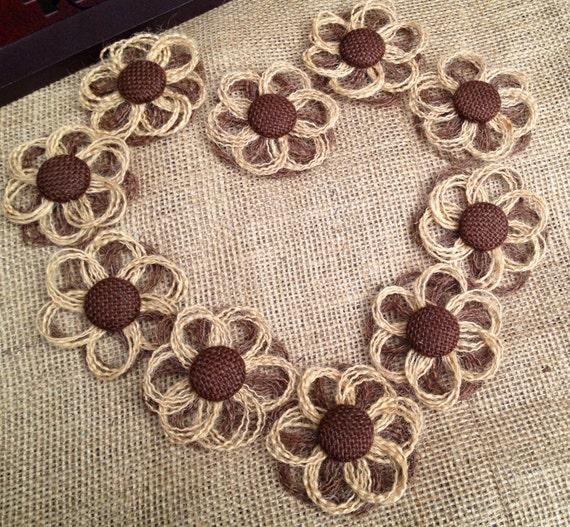 Mini burlap daisies set of 12 diy rustic wedding by resadavid for How to make hessian flowers