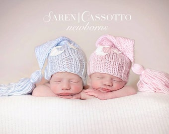 TWINS Newborn Boy Girl Knitted Elf Night Cap Hats with Moon embelishment for Photography Props