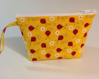 Yellow Ladybug Make Up Bag - Accessory - Cosmetic Bag