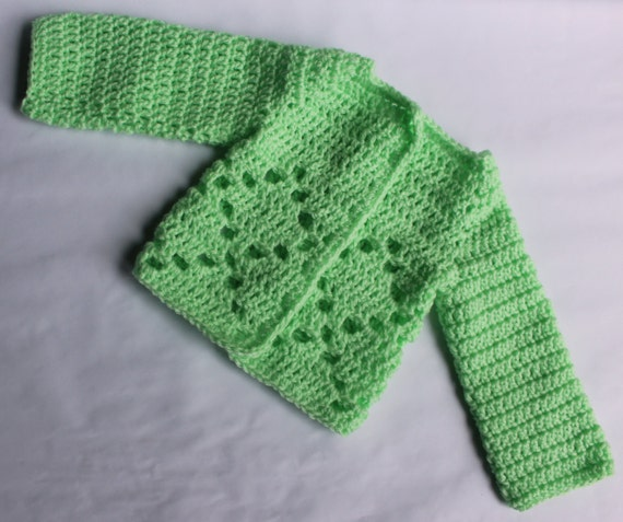 Diamond Sweater Crochet Pattern - Newborn to Three Months - Boy or Girl Pattern