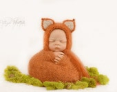 Newborn Fox Hat,Luxurious Mohair Baby Wrap,Photo Prop Handknit Wrap,Mini Photo Prop Blanket,Basket Stuffer,Mohair Blanket