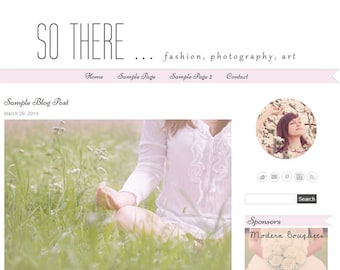 Premade WordPress Blog Template Design - So There Responsive Design – instant download - WP blog theme - light pink, grey, white