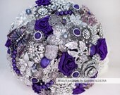 Brooch bouquet. Purple and silver wedding brooch bouquet, Jeweled Bouquet. Made upon request.