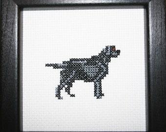 Black Labrador Retriever Cross Stitched Full Body Dog.