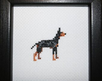 Manchester Terrier Standard Cross Stitched Full Body Dog.
