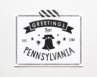 Screenprinted State of Pennsylvania Postcard