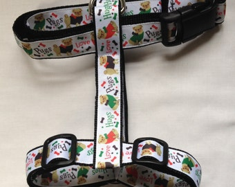 Handmade Pugs Love Hugs Adjustable Dog Harness