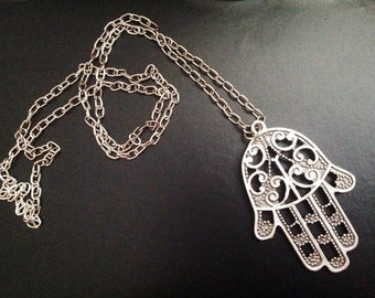 Hamsa Hand Necklace, Antique Silver Hand of Fatima Necklace, Boho Jewelry, Long Chain Necklace, Christmas Gift Ideas, Halloween, Birthday