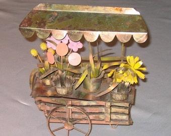 Flower Cart Art Sculpture Vintage Copper and Brass