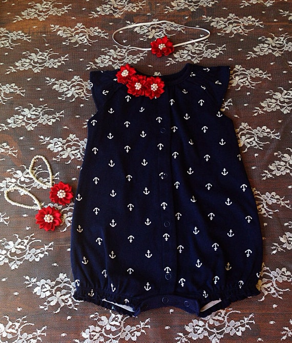 Baby girl clothes Nautical baby girl jumper baby shower