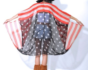 US Flag Draped Gauze Hippie Boho Festival Kimono Cape Coat Jacket