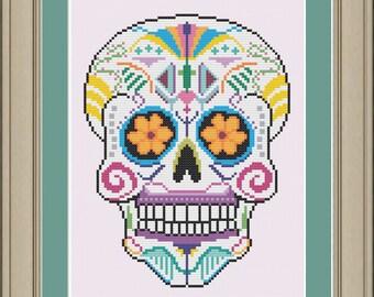Sugar skull: cool cross-stitch pattern