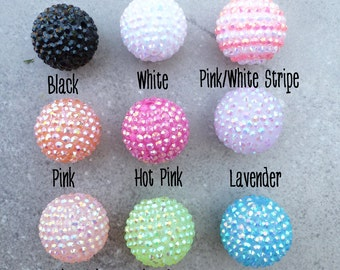 25mm - 26mm Resin Rhinestone Beads set of 4 - 8Color Choices - Basketball Wives - Focal Bead