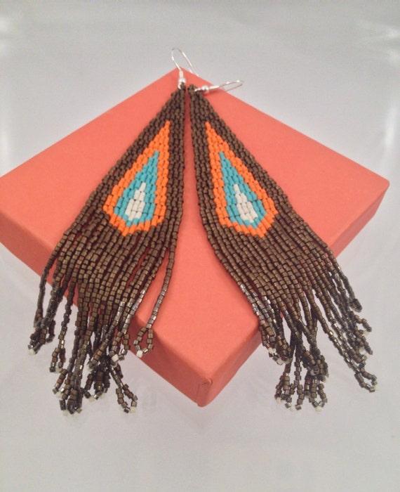 Boho Style Seed Beaded Fringe Earrings by Calisi on Etsy