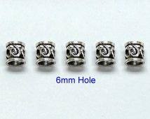 4x(6mm hole) Tibetan Silver DREADLOCK BEADS,Beard ring, Hair Beads,viking beard ring,dreadlock bead sets,Dreadlock Jewelry,Hair Accessories,