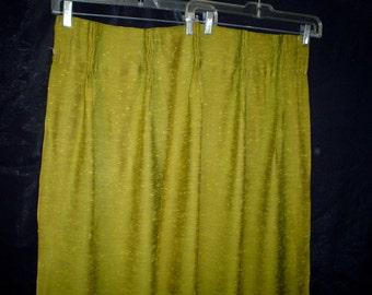"60s 24"" x 42"" Curtains Rayon Slub 2 Panels Chartreuse Green"