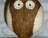 Primitive Round Chubby Owl Doll on Rusty Bolt - Browns Art Deco - Free Standing