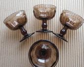 4 Noritake Crystal PROVINCIAL Brown Champagne Sherbert Glasses