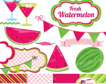 Digital Clipart Watermelon fresh cute fruits summer cocktail Buntings clip art designer element paperpack juicy Watermelon Clipart pf00076