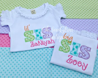 Personalized Big Sis Lil Sis Big Bro Lil Bro - Sibling Embroidered Shirt - Sisters Shirt - Brother Shirt - Big sister shirt - Little Brother