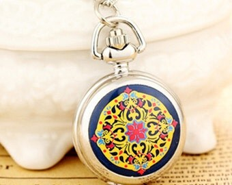1pcs small Antique Flower  pocket watch charms pendant   25mmx25mm AA205