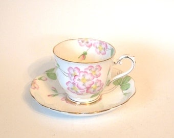 Royal Albert Crown China Fine Bone China Teacup and Saucer Set with Pink Flowers Circa 1925-1927 England