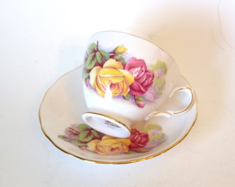 Vintage Royal Kent Fine Bone China Teacup and Saucer with Pink and Yellow Roses - Staffordshire England