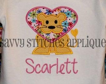 Lion Heart Machine Embroidery Applique Design