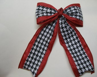 Roll Tide Houdstooth check Cranberry RED Hair Bow Cheer School Uniform Streamers Tails Traditional Basic Classic Tuxedo Style