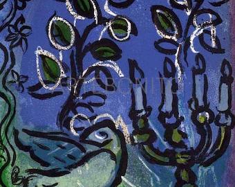 "Candlestick"" Original Lithograph by Marc Chagall -  The Jerusalem window"