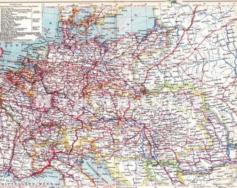 1906 Traffic and Transportation Chart of Europe at the beginning of the 20th Century Dated Antique Map