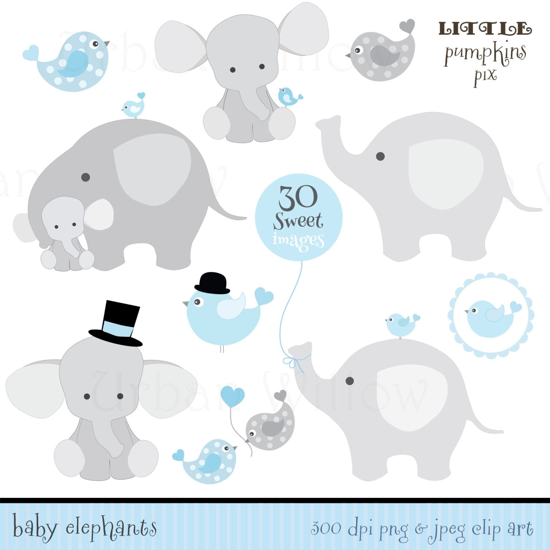 Baby Elephant Clip Art Baby Shower BABY ELEPHANTS Cute Di...