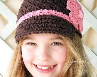 Crochet Hat Pattern Girls Hats Daisy Visor Beanie Visor Hat Pattern Crochet PDF 150 Newborn to Adult  Photography Prop Instant Download