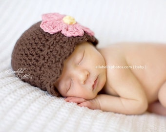 Crochet Hat Pattern Baby Crochet Hat Daisy Flapper Beanie PDF 120 Newborn to Adult Photography Prop Instant Download