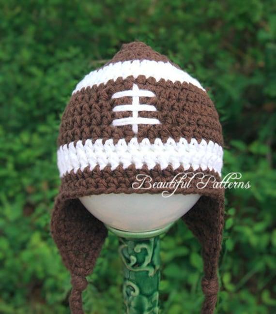 Soft Shells Baby Earflap Hat Crochet Pattern : Crochet Hat Pattern Football Earflap Hat by BeautifulPatterns