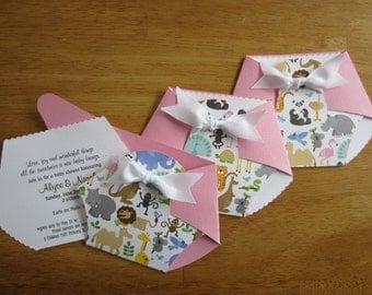 Handmade Baby Shower Invitation - Diaper Shape w/ Cute Animals front