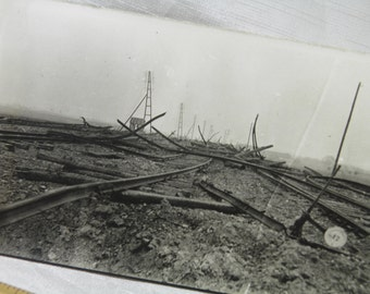 WWI Mangled Train Track By 11 Inch Shells Waereghem, Belgium -  Soldier's Personal Photograph Postcard