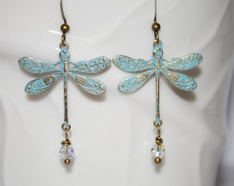 Dragonfly earrings with crystal, mint blue dragonfly and crystal, dragonfly earrings, nature inspired, gift