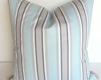 BLUE PILLOW Blue Pillow Covers Grey Decorative Throw Pillows Baby Blue Pillows Striped 16x16 baby Nursery PillowHome and living