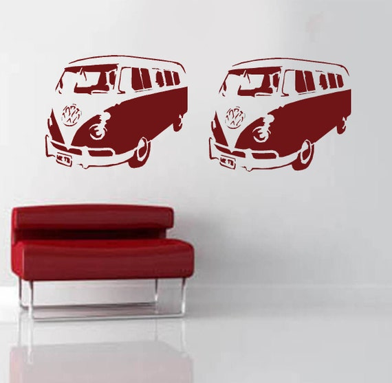 vw camper van stencil pochoir grand mur pochoirs par idealstencils. Black Bedroom Furniture Sets. Home Design Ideas