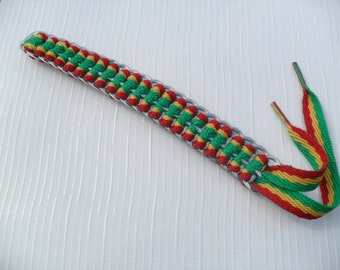 Upcycled Soda Can Tab & Red, Green, Gold Shoelace Bracelet! RASTA!