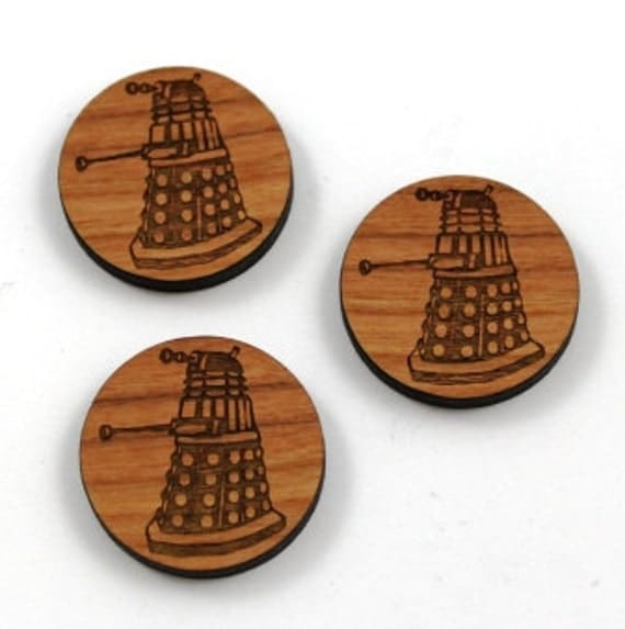 Laser Cut Supplies-1 Piece.Daleks Charms - Cherry Wood Laser Cut Doctor Who -Brooch Supplies- Little Laser Lab Sustainable Wood Products