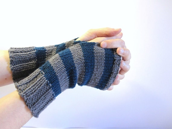 Fingerless Gloves for women. Hand knitted hand warmers dark turquoise and grey. Womens accessories.