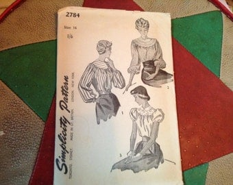 Vintage Simplicity Pattern 2784 ladies Blouses black and white copy great condition 1949