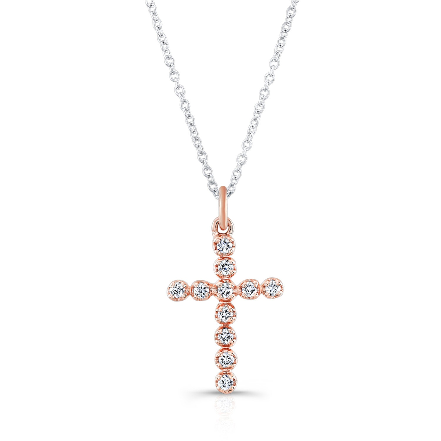 14kt rose gold diamond cross pendant ctw g color vs2. Black Bedroom Furniture Sets. Home Design Ideas