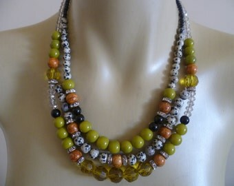Triple Multi Strand Statement Necklace in Olive Green Chartreuse