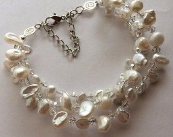 Swarovski Ice and Freshwater Pearl Bridal Bracelet