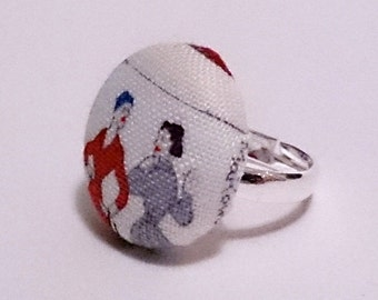 Fabric Button Ring, Vintage Women Fabric Button Ring, Silver Ring