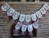 God Bless Banner in Extra Large Size, White, Pink and Gold Banner, Baptism Banner, Girls Name Banner, Girls Baptism Decoration